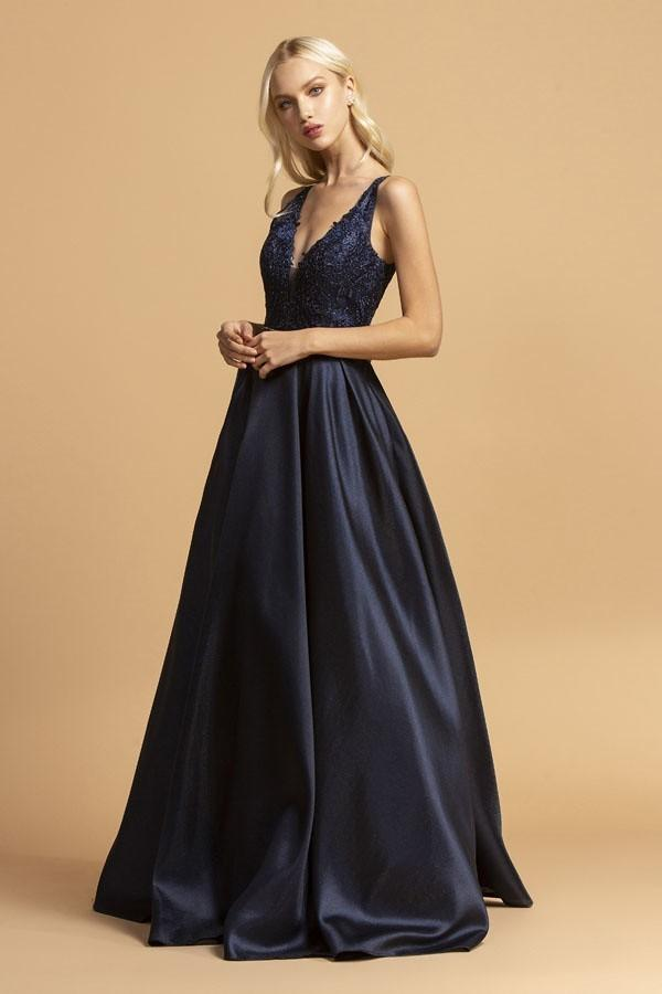 V-Neck Beaded Top Sleeveless Long Prom Dress APL2168