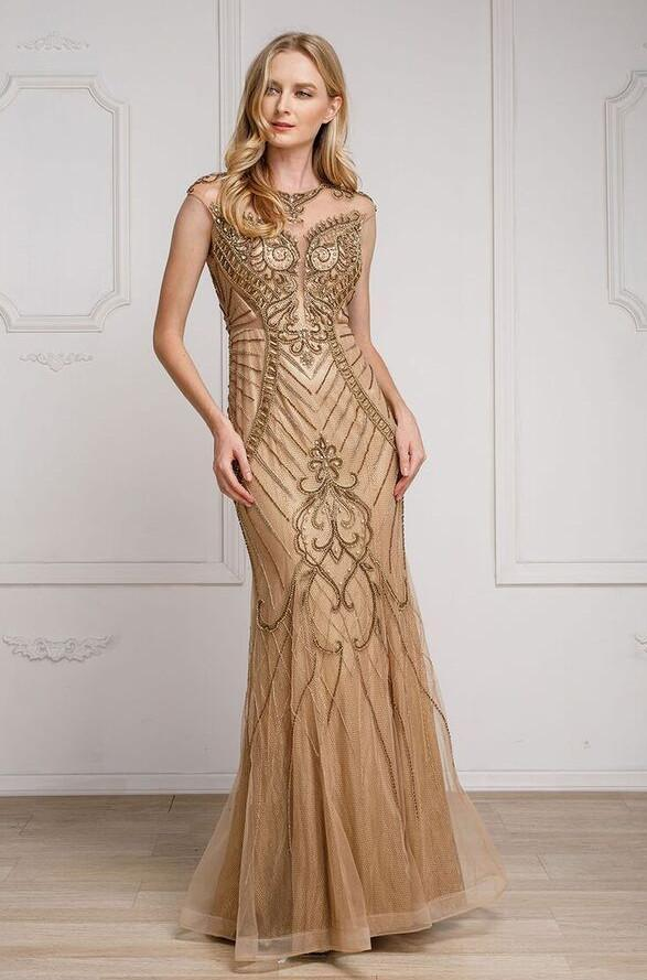 Gold Illusion Neckline Long Prom Dress with Cap Sleeves CA260