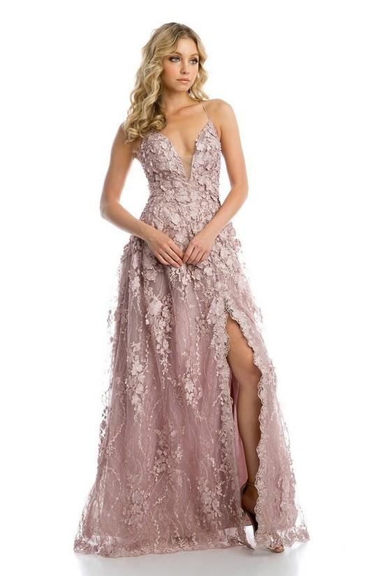 Deep V-Neckline Leg Slit Floral Beaded Long Prom DRess JT216