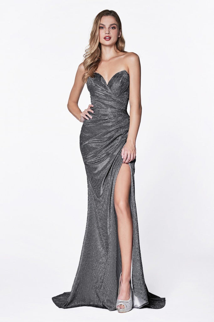 Strapless Rouched Sparkle Mermaid Long Prom Dress with Sweatheart Neckline and Leg Slit CDCF331