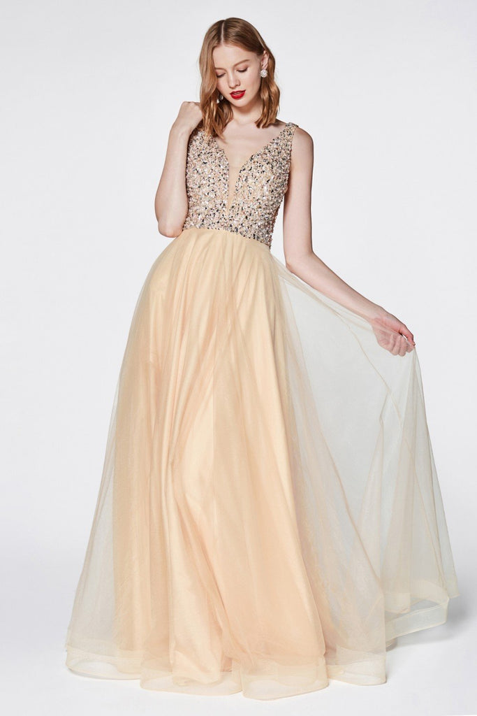 Beaded Top Sleeveless A-Line Long Prom Dress CDU103