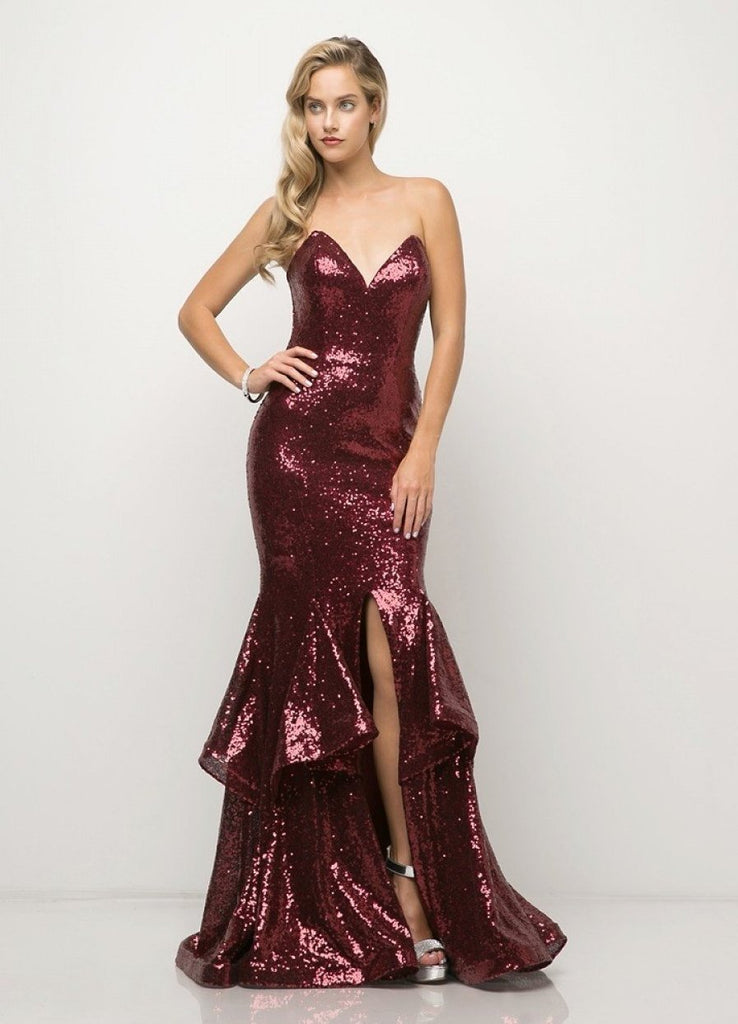 Sweetheart Neckline Sequined Sleeveless Mermaid Long Prom Dress CDUE010
