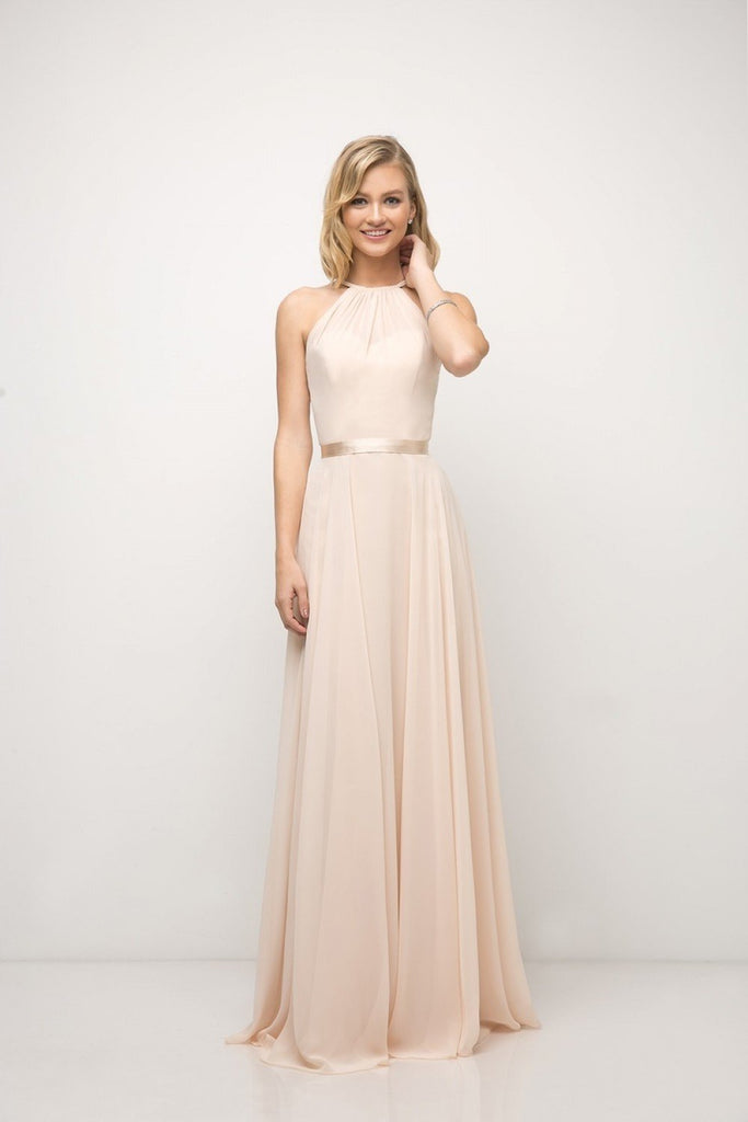 Halter Neckline Sleeveless A-Line Long Bridesmaid Dress CDUJ0010