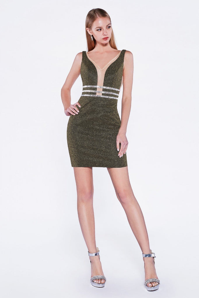 V-Neckline Sleeveless Short Sheath Cocktail Dress CDUK022S