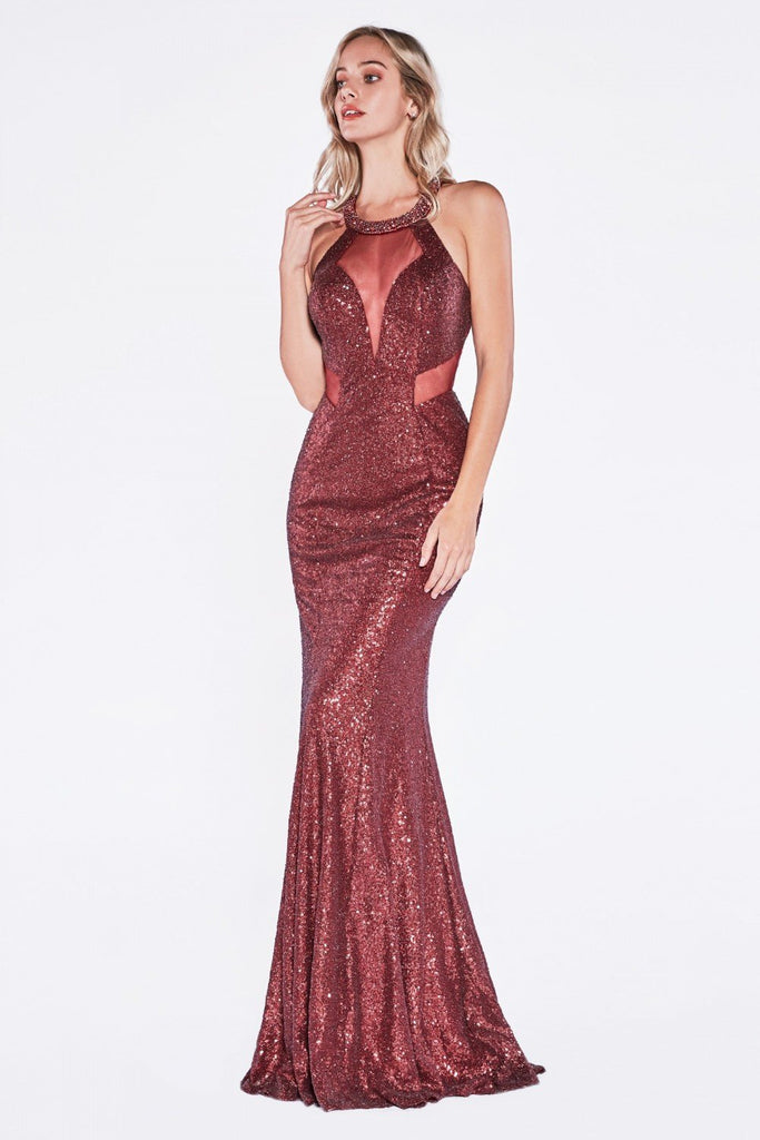 NEW Long Beaded Evening Formal Open Back Glitter Gown Dress CDUR133