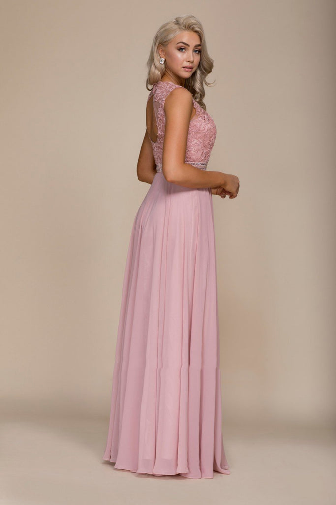 Illusion Neckline Sleeveless A-Line Long Prom Dress NXY101P