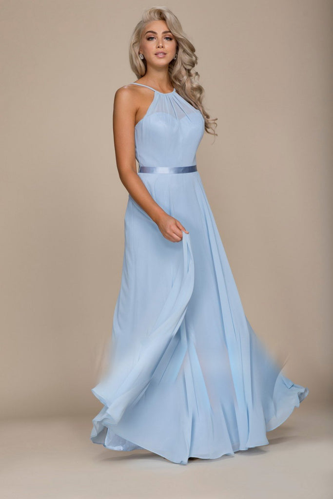 Halter Neckline A-Line Long Dress NXY102