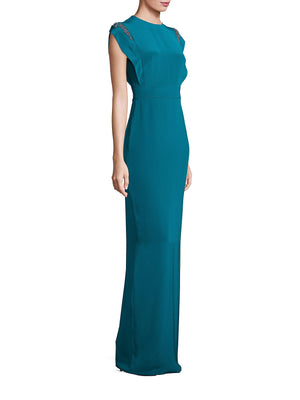 Theia 883073 Silk Crepe Gown Cap Sleeve - Lagoon Blue