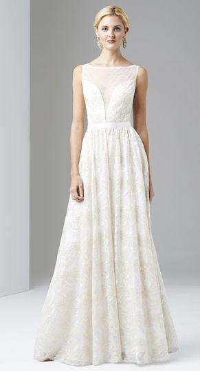 Adrianna Papell Sleeveless Illusion Sequin-lace Wedding Gown ...