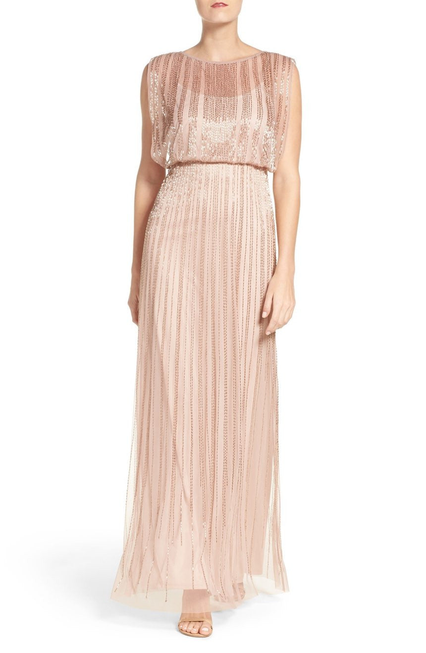 Adrianna Papell Beaded Mesh Blouson Gown - Rose Gold