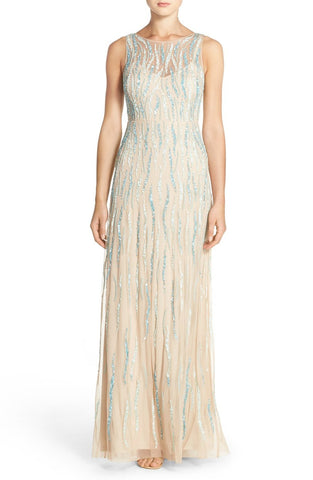 Adrianna Papell Embellished Mesh Mermaid Gown Dress - CHAMPAGNE TURQUOISE