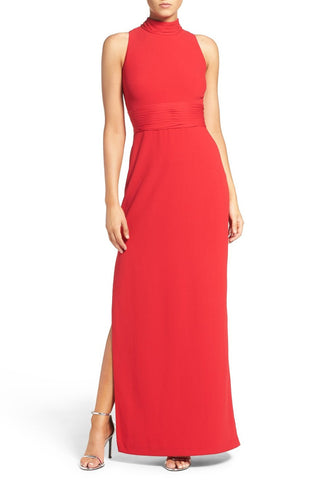 Aidan Mattox Chiffon High Neck Sleeveless Gown - Garnet Red