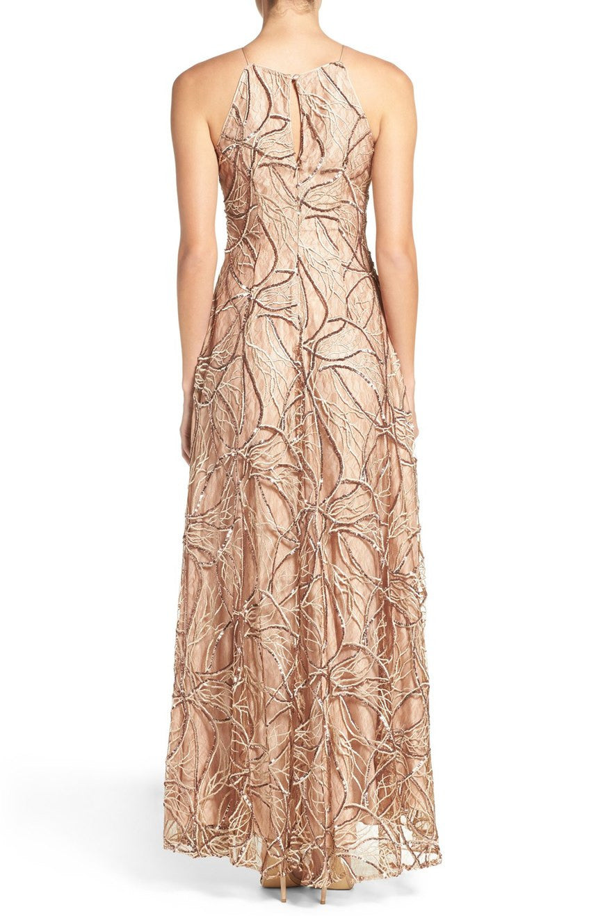 Aidan Mattox Sequin Embroidered Lace & Silk High-low Gown - Golden ...