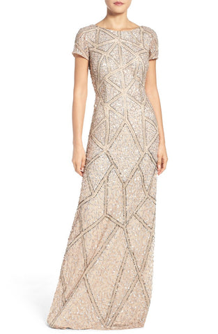Adrianna Papell Short Sleeve Geometric Sequin Beaded Gown - Champagne