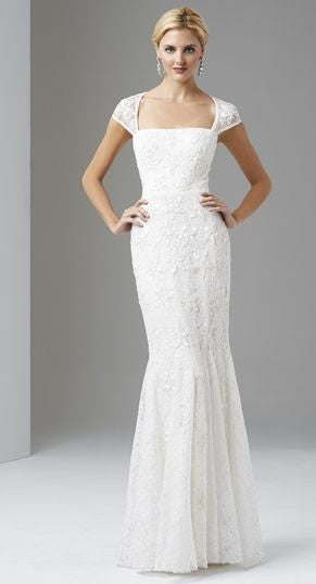 Adrianna Papell Ivory Beaded Lace Cap Sleeve Trumpet Wedding Gown ...