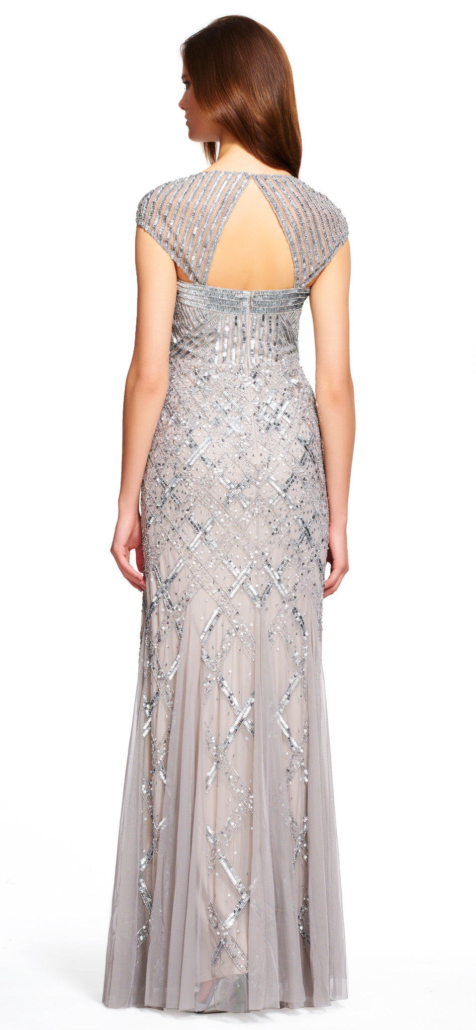 Adrianna Papell Cap Sleeve Beaded Gown - Platinum