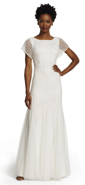Adrianna Papell Ivory short sleeve fully beaded Gown