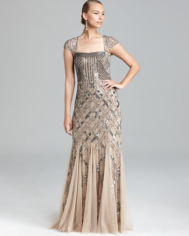 Adrianna Papell Cap Sleeve Beaded Gown - Nude
