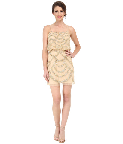 Aidan Mattox Spaghetti Strap Beaded Blouson Dress - Light Gold
