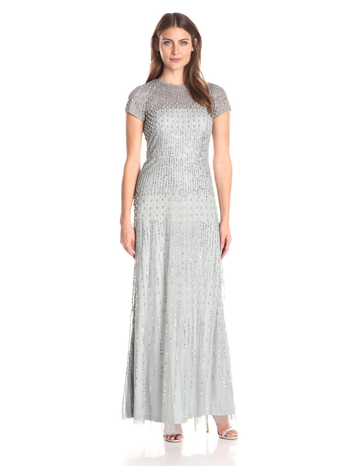 Adrianna papell gown short sleeve deco - Adrianna Papell Short Sleeve Beaded Mermaid Gown Blue Mist