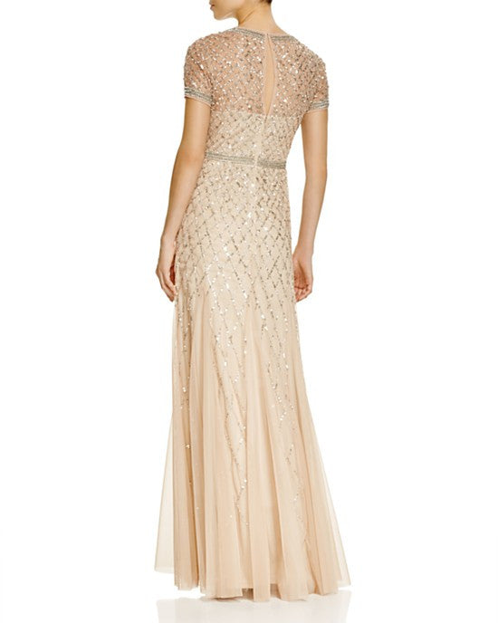 Adrianna Papell Beaded Mesh Gown - Champagne
