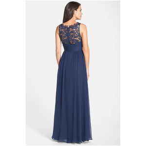 Aidan Mattox Embellished Lace & Silk Chiffon Gown - Twilight