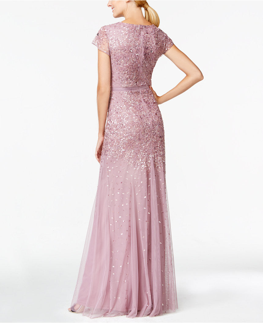 Adrianna Papell Cap-sleeve Beaded Embellished Gown - Dusty Rose ...