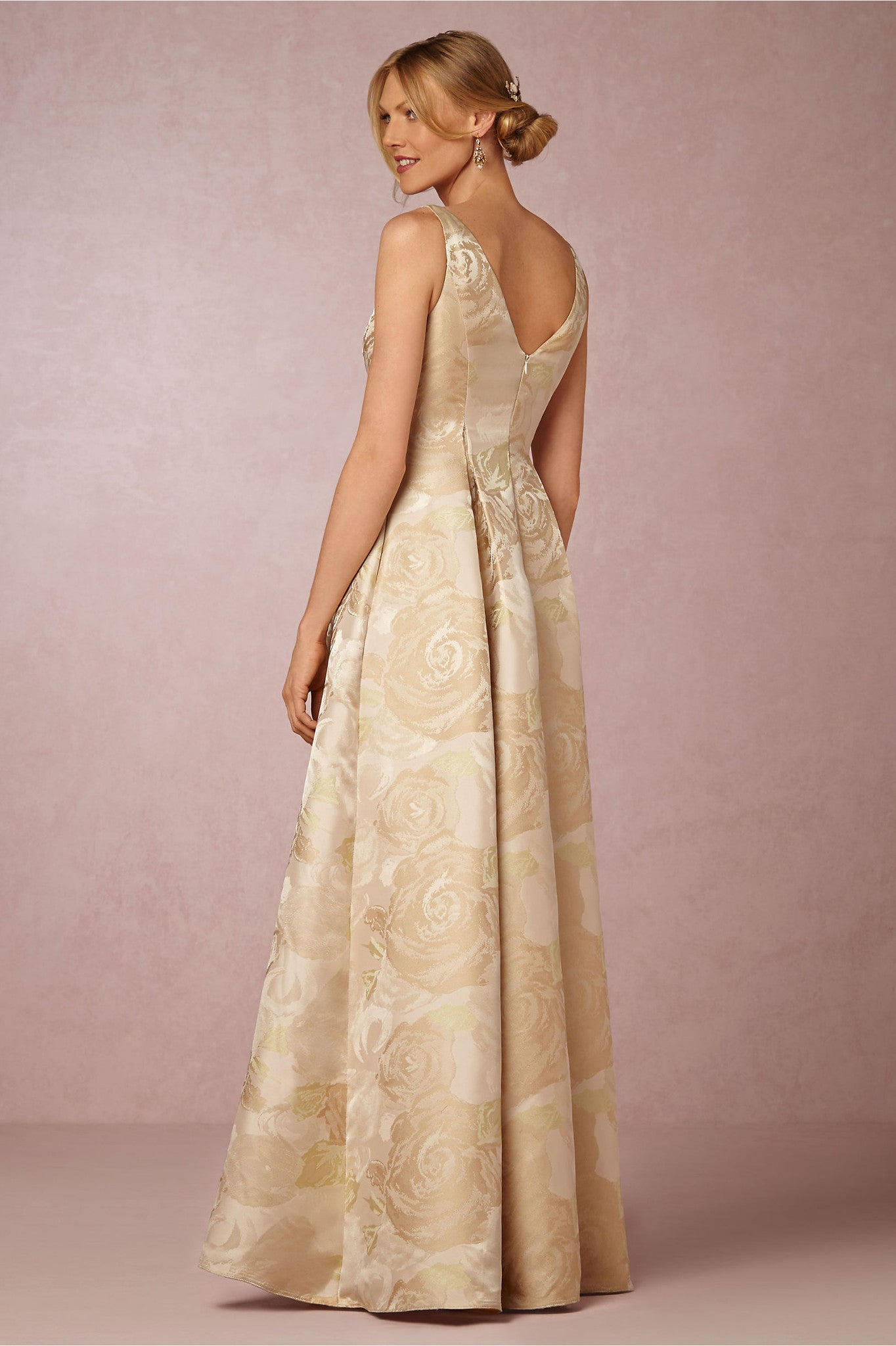 BHLDN Adrianna Papell Audrey Gown - Floral Champagne - Adinas Bridal