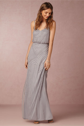 BHLDN Adrianna Papell Sophia Gown - Silver Gray