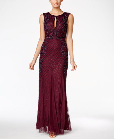 Adrianna Papell Beaded Keyhole Gown - Cassis
