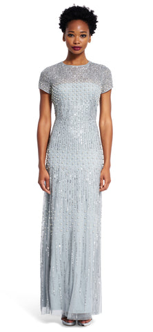 Adrianna Papell Short Sleeve Beaded Mermaid Gown - Blue Mist