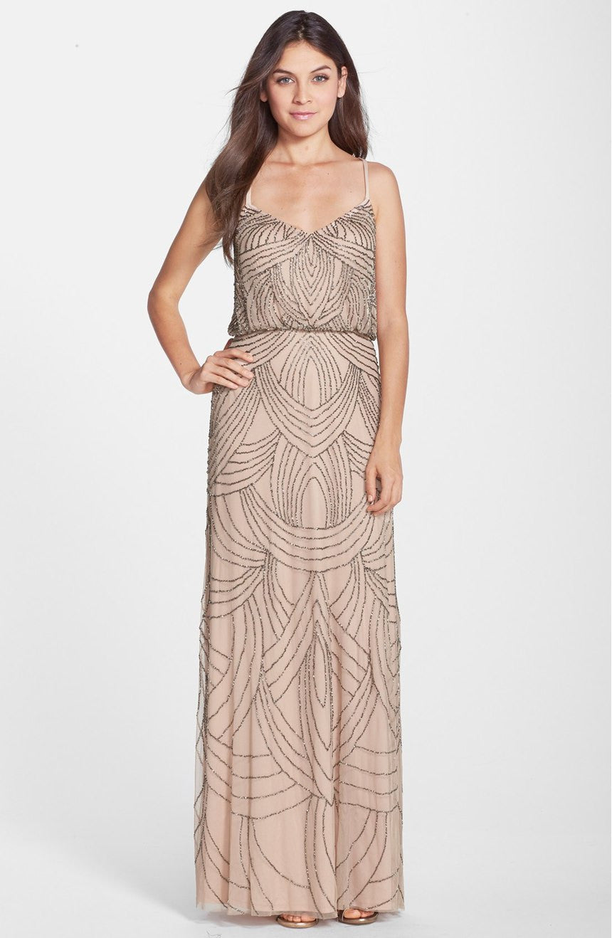 Adrianna Papell Beaded Chiffon Blouson Gown - Taupe / Pink
