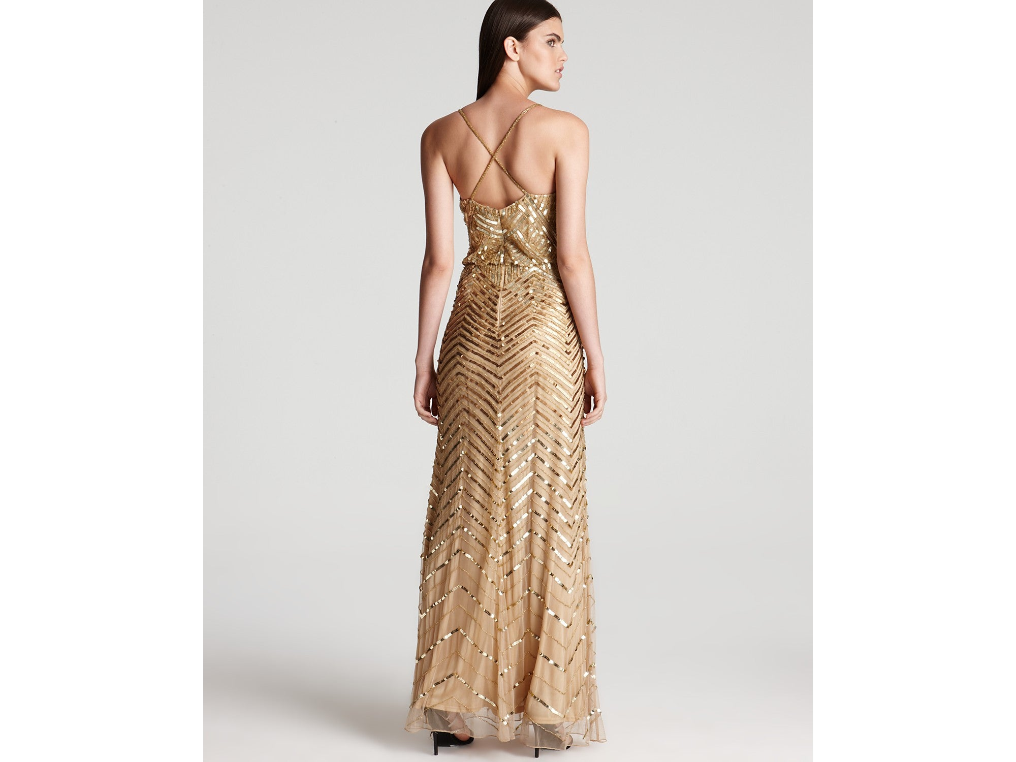 Adrianna papell chevron beaded blouson gown gold for Gold beaded wedding dress