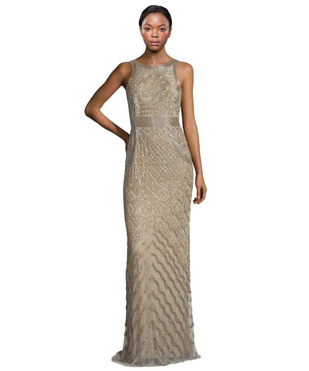 Theia Bead Embellished Sleeveless Column Evening Gown - Bronze Gold