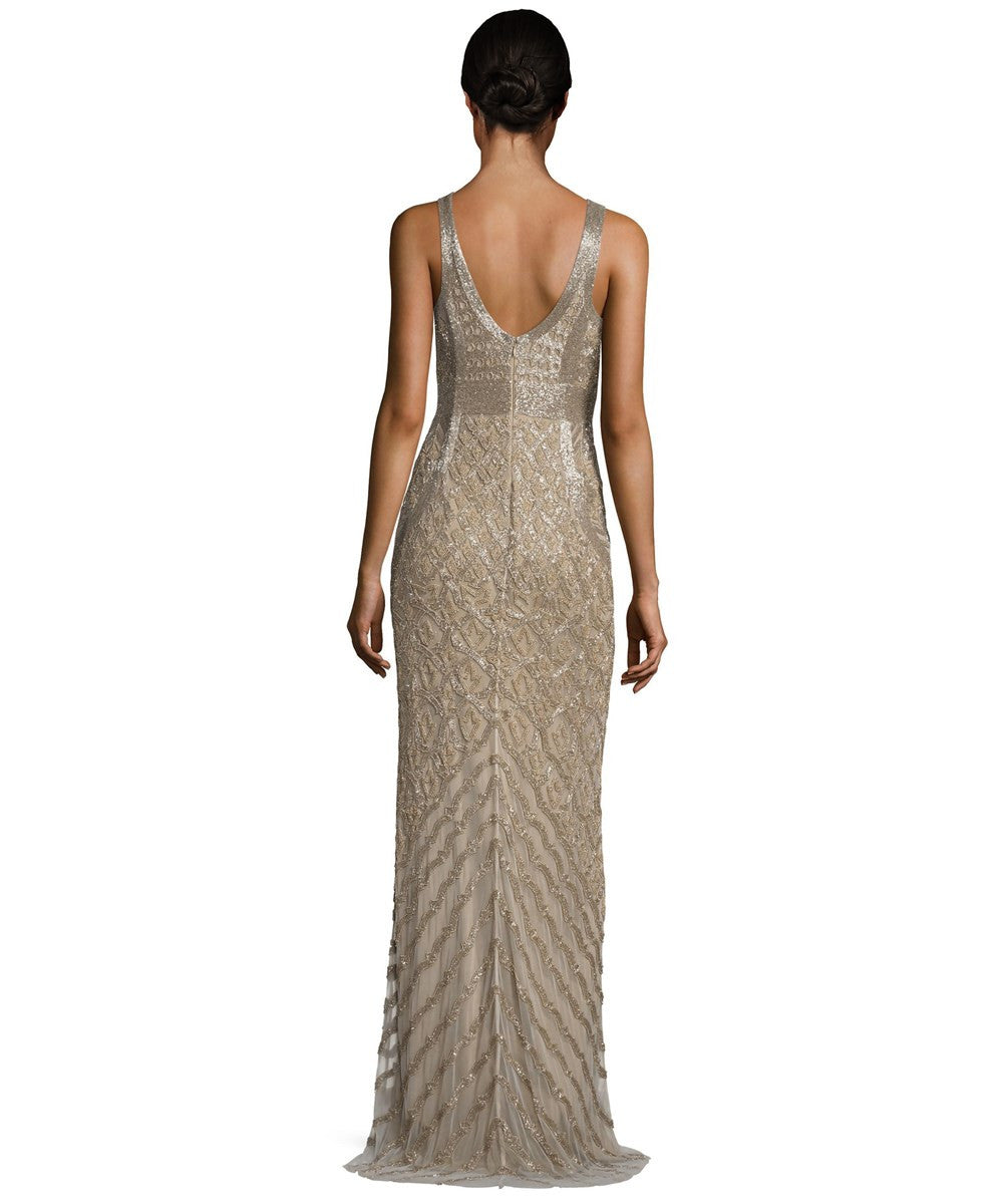 Theia Bead Embellished Sleeveless Column Evening Gown - Bronze Gold ...