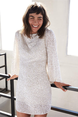 BHLDN Goldie Long Sleeve Sequin Dress