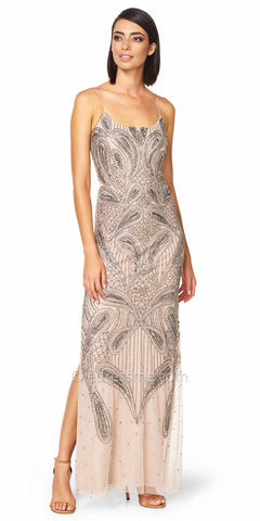 Aidan Mattox Spaghetti Strap Beaded Paisley Dress - Light Mink