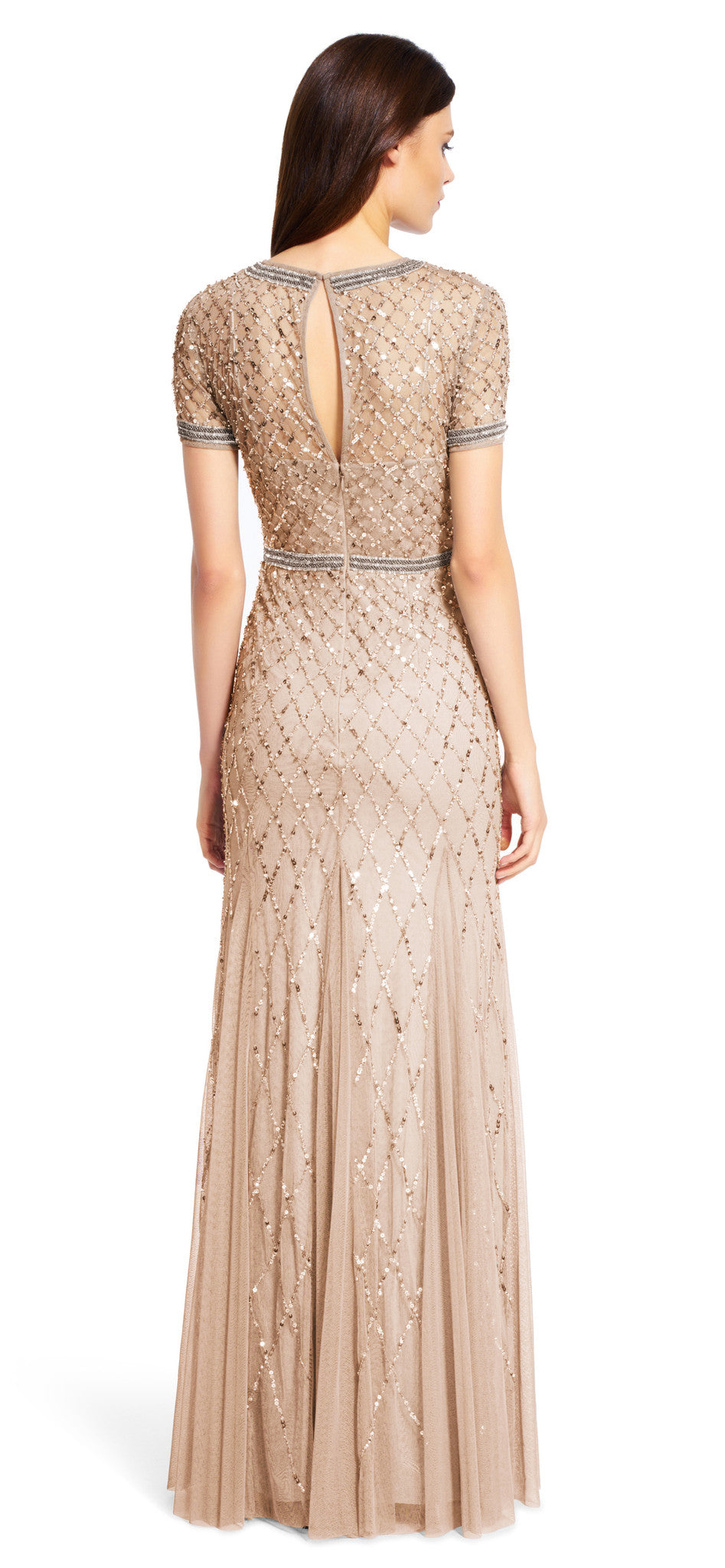 Adrianna Papell Beaded Mesh Gown - Champagne - Adinas Bridal