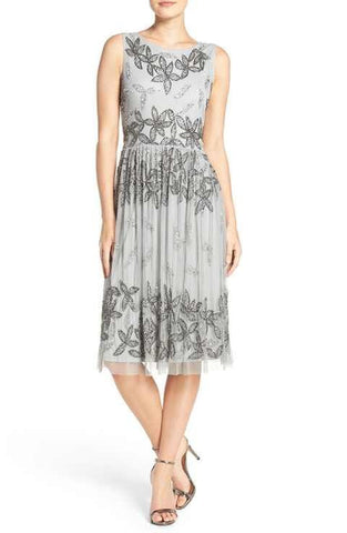 Adrianna Papell Beaded Floral Dress - Blue Mist