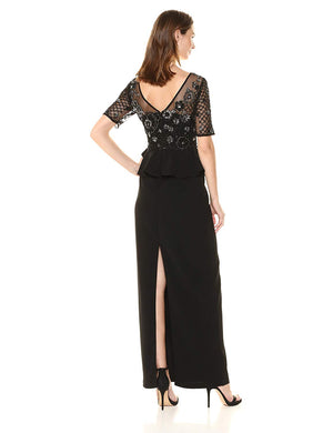 Adrianna Papell Crepe Peplum Gown - Black