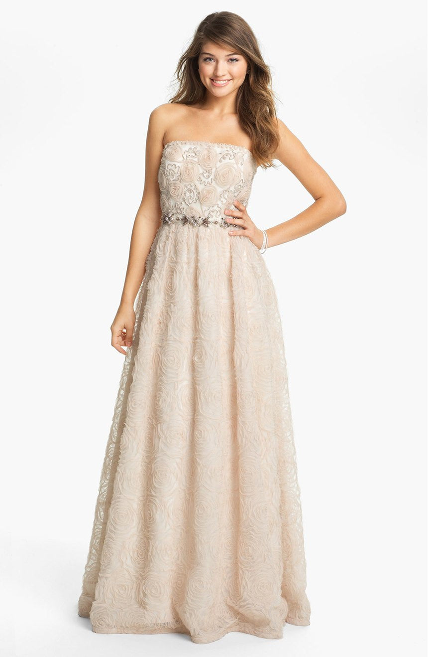 Adrianna Papell Strapless Tulle Rosette Ball Gown - Blush Pink ...