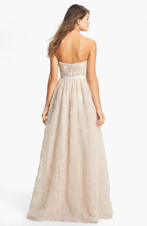 Adrianna Papell Strapless Tulle Rosette Ball Gown - Blush Pink
