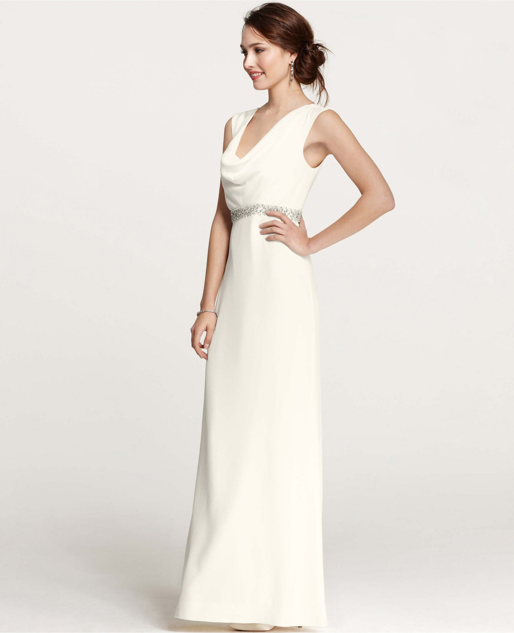 Cowl Neck Back Wedding Dresses
