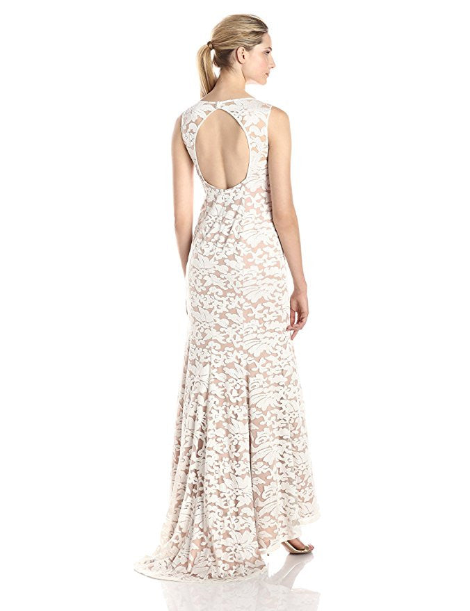 Adrianna Papell White Sleeveless Embroidered Lace Mermaid Wedding ...