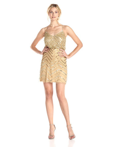 Adrianna Papell Chevron Beaded Blouson Dress - Gold