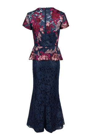 JS Collections Lace Peplum Dress - Navy Fuchsia