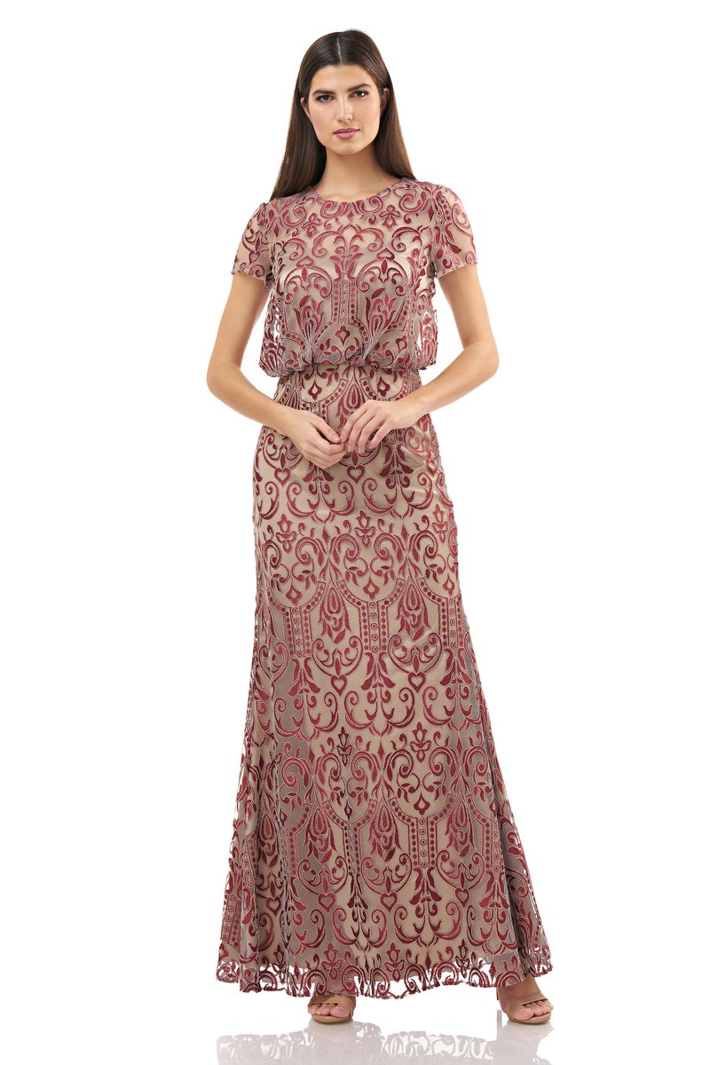 JS Collections BLOUSON EMBROIDERED Dress - Cabernet Ginger