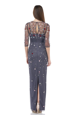 JS Collections Floral Beaded Gown - Charcoal Multi