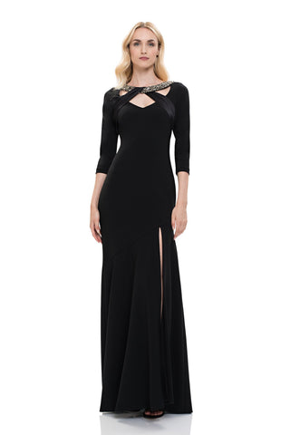 Theia 883890 3/4 Sleeve V-Neck Dress - Black