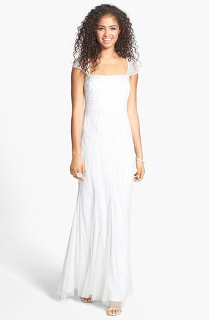 Adrianna Papell Ivory Beaded Cap Sleeve Wedding Gown